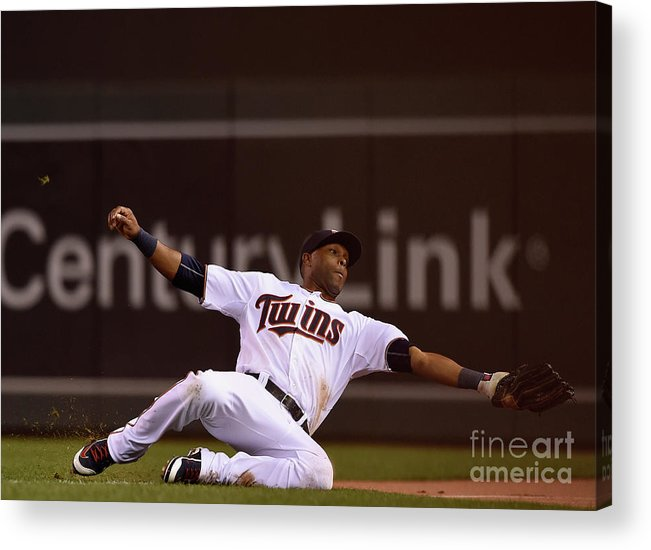 People Acrylic Print featuring the photograph Albert Pujols and Torii Hunter by Hannah Foslien