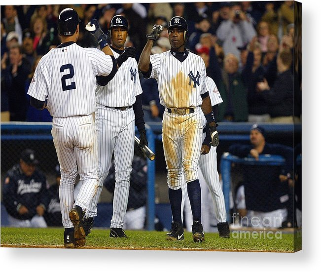 Alfonso Soriano Acrylic Print featuring the photograph Alfonso Soriano, Derek Jeter, and Bernie Williams by Al Bello