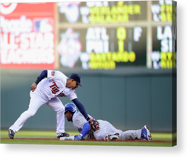 Game Two Acrylic Print featuring the photograph Anthony Gose and Eduardo Escobar by Hannah Foslien