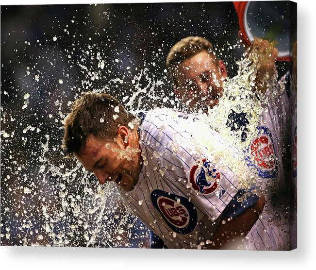 People Acrylic Print featuring the photograph Anthony Rizzo and Kris Bryant by Jonathan Daniel