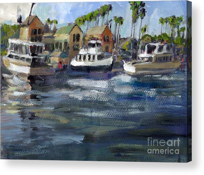 California Acrylic Print featuring the painting Bait Dock Marina Del Rey by Randy Sprout