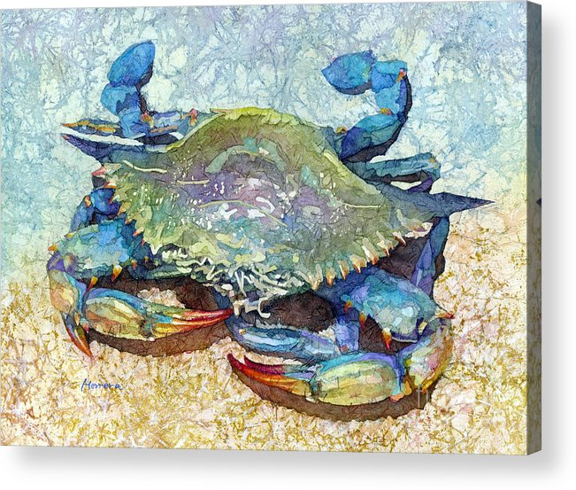 Crab Acrylic Print featuring the painting Blue Crab-pastel colors by Hailey E Herrera