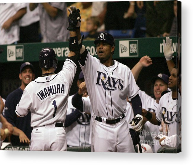 People Acrylic Print featuring the photograph Carl Crawford and Akinori Iwamura by Icon Sports Wire