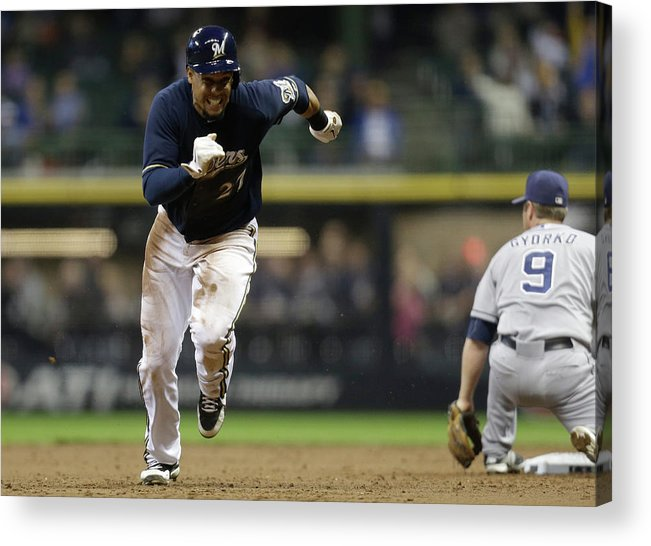 2nd Base Acrylic Print featuring the photograph Carlos Gomez by Mike Mcginnis