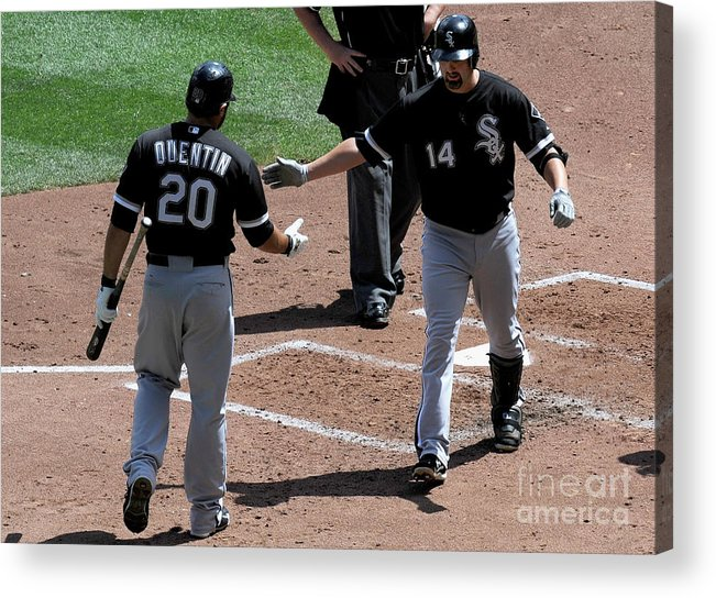 People Acrylic Print featuring the photograph Carlos Quentin and Paul Konerko by Hannah Foslien