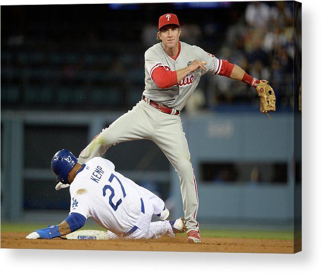 Second Inning Acrylic Print featuring the photograph Chase Utley and Matt Kemp by Harry How