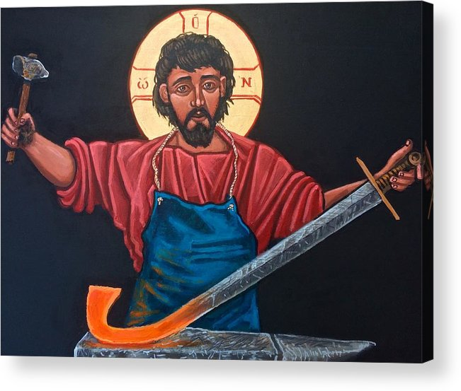 Iconography Acrylic Print featuring the painting Christ Swords into Plowshares by Kelly Latimore