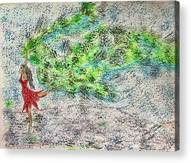 Dancing Acrylic Print featuring the painting Dancing in The Blizzard by Kathy Marrs Chandler