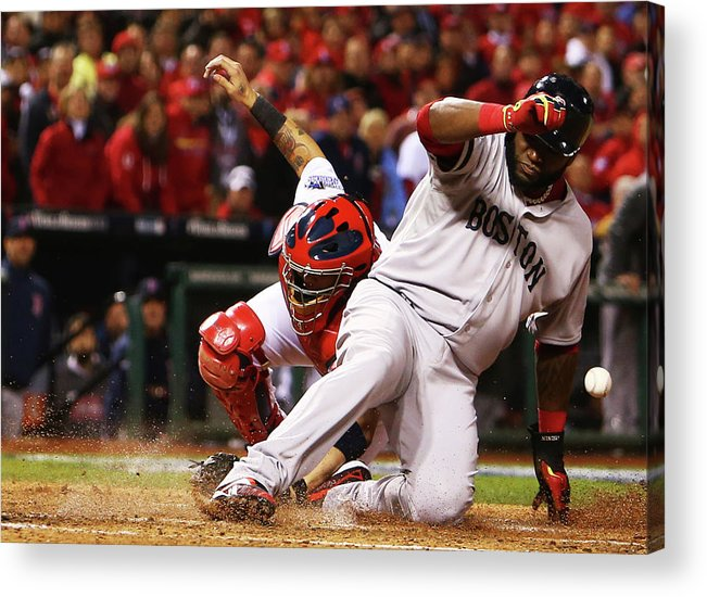 American League Baseball Acrylic Print featuring the photograph David Ortiz, Stephen Drew, and Lance Lynn by Dilip Vishwanat