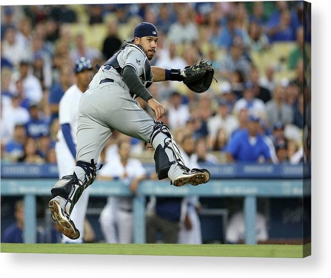 Baseball Catcher Acrylic Print featuring the photograph Dee Gordon and Rene Rivera by Stephen Dunn