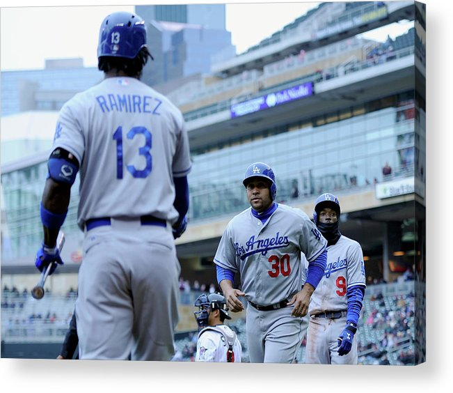 Second Inning Acrylic Print featuring the photograph Dee Gordon, Hanley Ramirez, and Miguel Olivo by Hannah Foslien