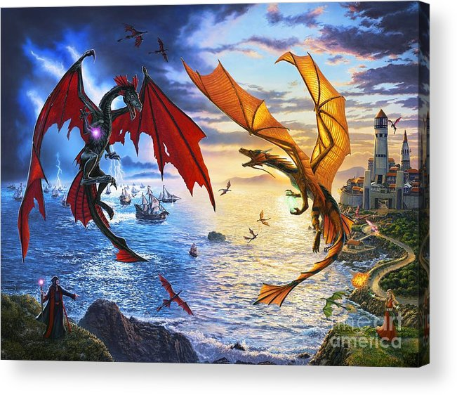 Dragon Acrylic Print featuring the painting Duel of the Dragon Wizards by Stu Shepherd