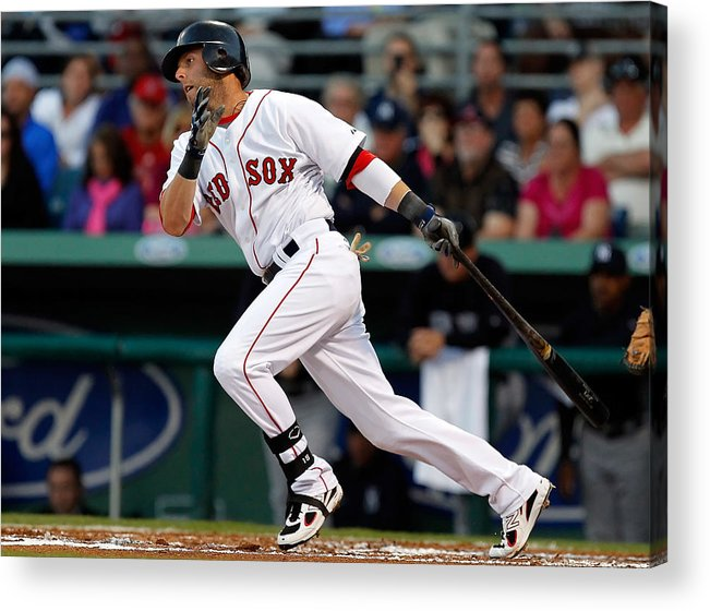 American League Baseball Acrylic Print featuring the photograph Dustin Pedroia by J. Meric