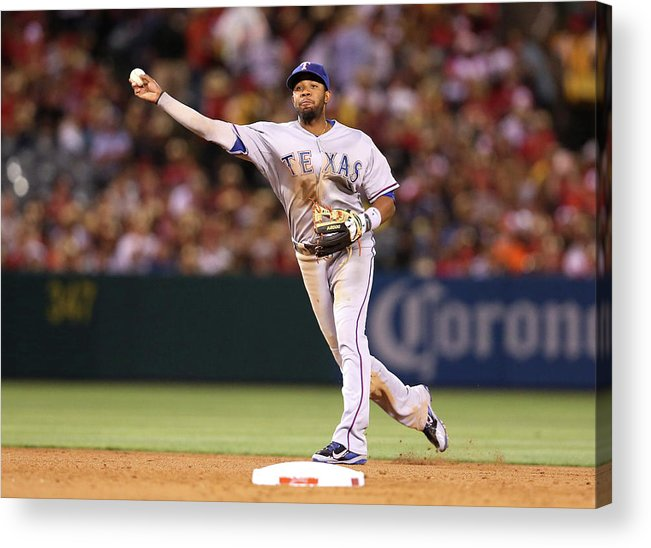 American League Baseball Acrylic Print featuring the photograph Elvis Andrus and Grant Green by Stephen Dunn
