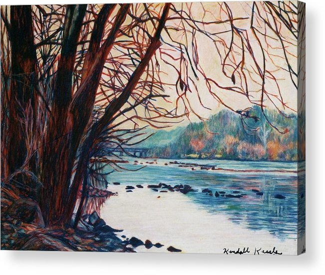 New River Acrylic Print featuring the pastel Fall on the New River by Kendall Kessler
