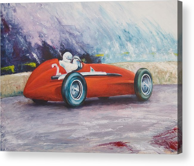 Racing Acrylic Print featuring the painting Fangio by Jos Van de Venne
