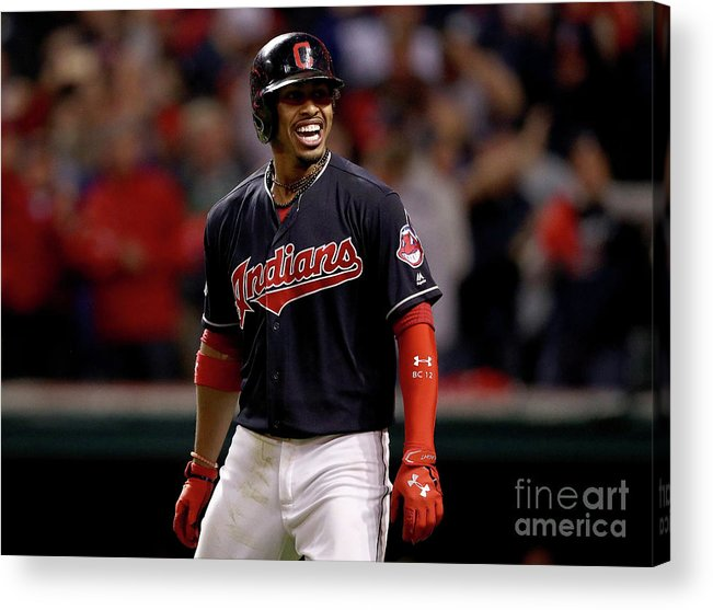 Three Quarter Length Acrylic Print featuring the photograph Francisco Lindor and Marco Estrada by Maddie Meyer