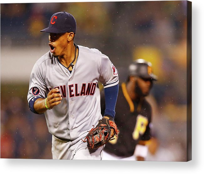 Double Play Acrylic Print featuring the photograph Francisco Lindor by Jared Wickerham