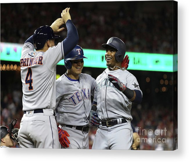 Three Quarter Length Acrylic Print featuring the photograph George Springer, Jean Segura, and Shin-soo Choo by Patrick Smith