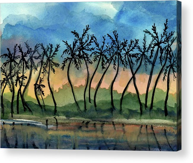 Evening Acrylic Print featuring the painting Good Night Hawaii Two by Randy Sprout