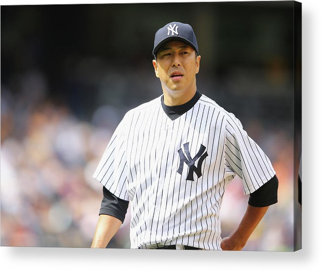 American League Baseball Acrylic Print featuring the photograph Hiroki Kuroda by Al Bello