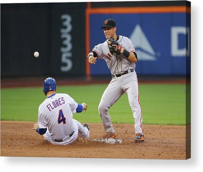 Double Play Acrylic Print featuring the photograph Joe Panik and Wilmer Flores by Al Bello