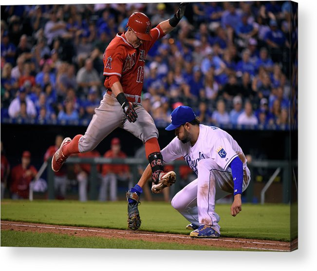 Ninth Inning Acrylic Print featuring the photograph Johnny Giavotella and Eric Hosmer by Ed Zurga