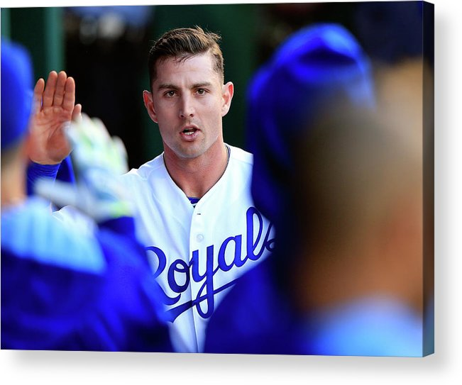 American League Baseball Acrylic Print featuring the photograph Johnny Giavotella by Jamie Squire