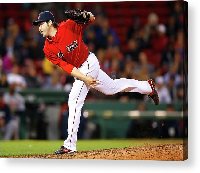 American League Baseball Acrylic Print featuring the photograph Junichi Tazawa by Jared Wickerham
