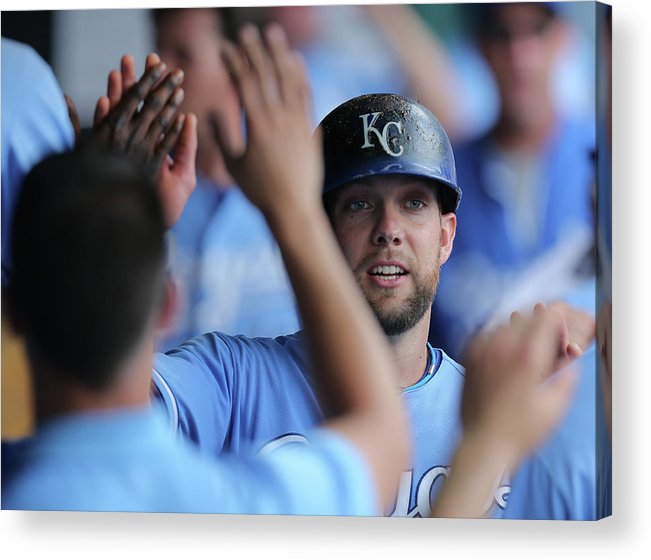 Second Inning Acrylic Print featuring the photograph Justin Maxwell and Alex Gordon by Ed Zurga