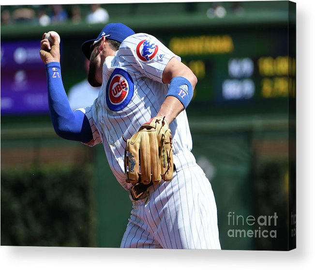 Second Inning Acrylic Print featuring the photograph Kevin Pillar and Kris Bryant by David Banks