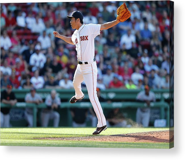 American League Baseball Acrylic Print featuring the photograph Koji Uehara by Jim Rogash