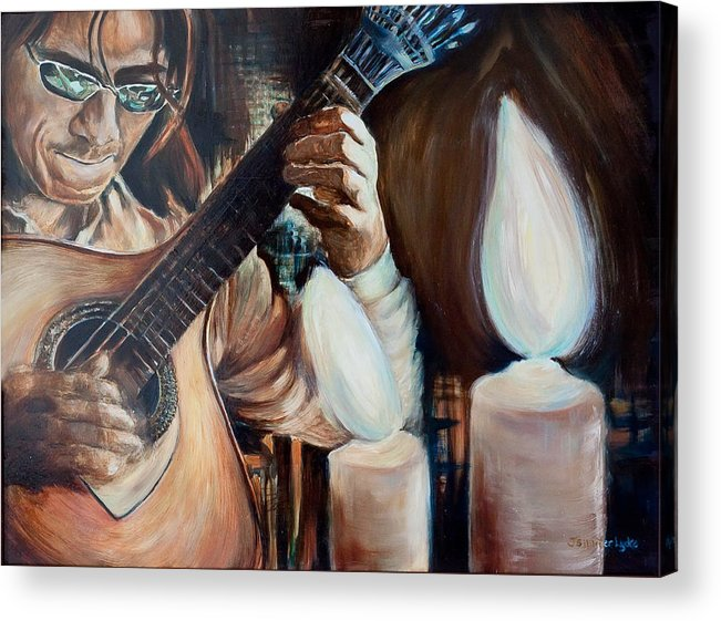 Guitar Acrylic Print featuring the painting La Guitarra- Portuguese Guitar by Jennifer Lycke