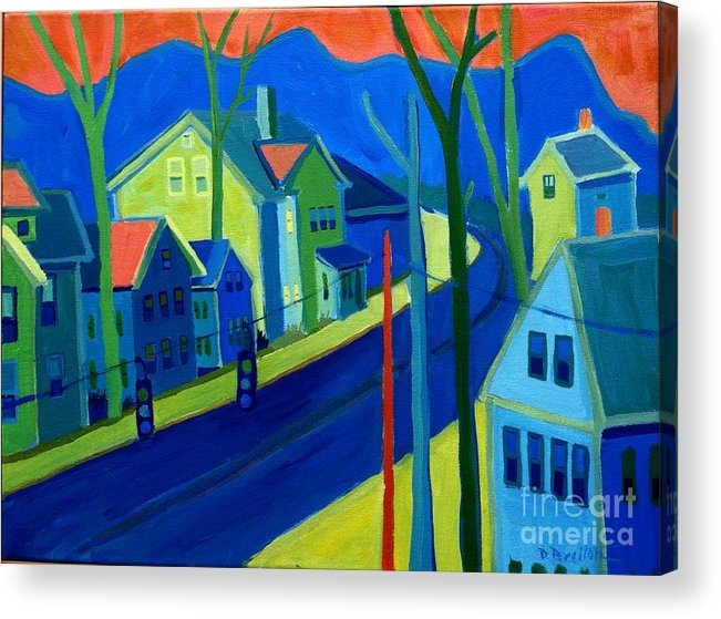 Cityscape Acrylic Print featuring the painting Lowell Deluge by Debra Bretton Robinson