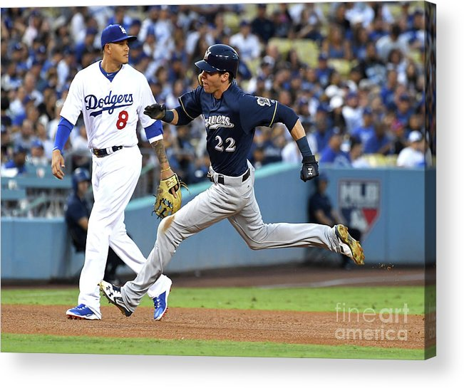 People Acrylic Print featuring the photograph Manny Machado, Christian Yelich, and Lorenzo Cain by Jayne Kamin-oncea