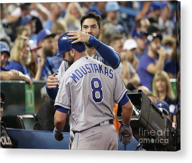 Three Quarter Length Acrylic Print featuring the photograph Mike Moustakas and Eric Hosmer by Tom Szczerbowski