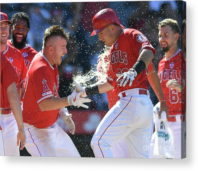 People Acrylic Print featuring the photograph Mike Trout by John Mccoy