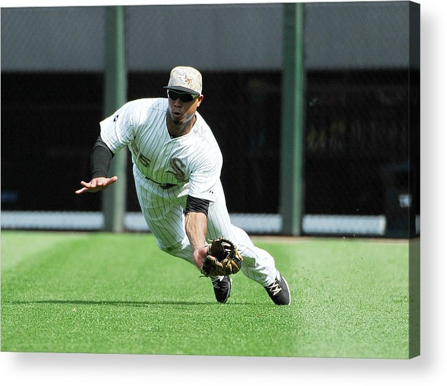 American League Baseball Acrylic Print featuring the photograph Moises Sierra and Yan Gomes by David Banks