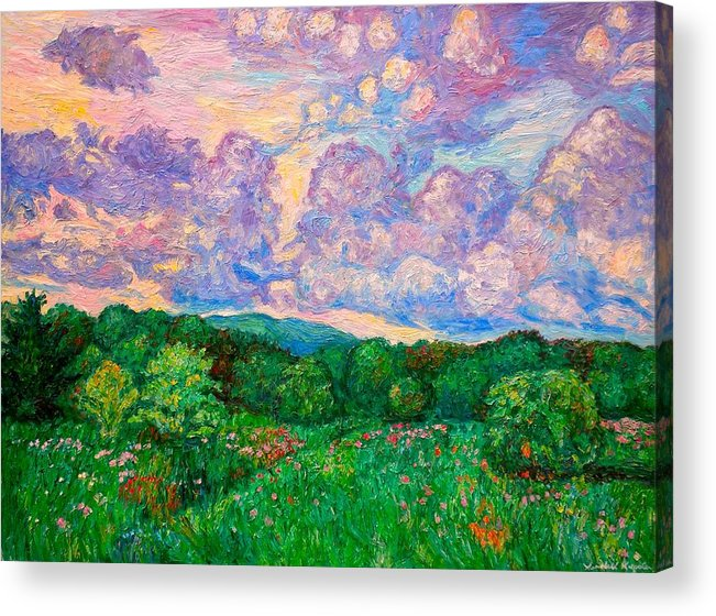 Landscape Acrylic Print featuring the painting Mushroom Clouds by Kendall Kessler