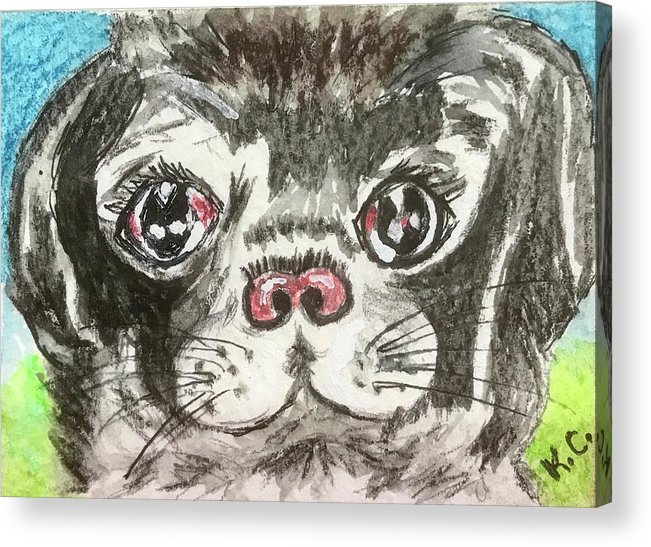 Little Black Pug Acrylic Print featuring the painting My Little Black Pug by Kathy Marrs Chandler