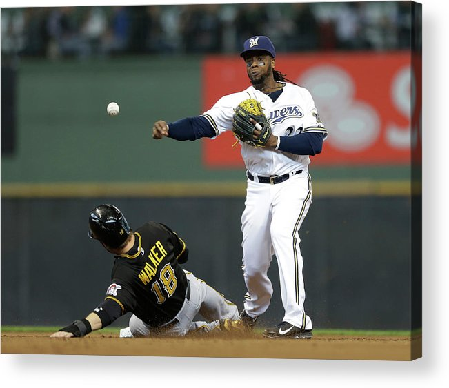 2nd Base Acrylic Print featuring the photograph Neil Walker and Rickie Weeks by Jeffrey Phelps