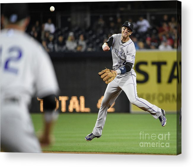 Second Inning Acrylic Print featuring the photograph Nick Hundley and Troy Tulowitzki by Denis Poroy
