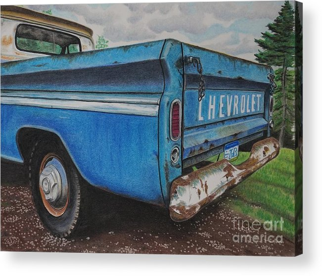 Wall Art Acrylic Print featuring the pastel Old Blue by Chris Naggy