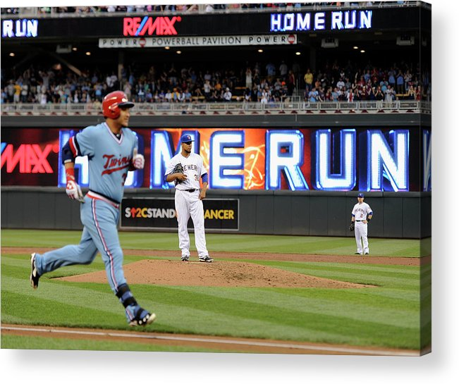 Oswaldo Arcia Acrylic Print featuring the photograph Oswaldo Arcia and Wily Peralta by Hannah Foslien