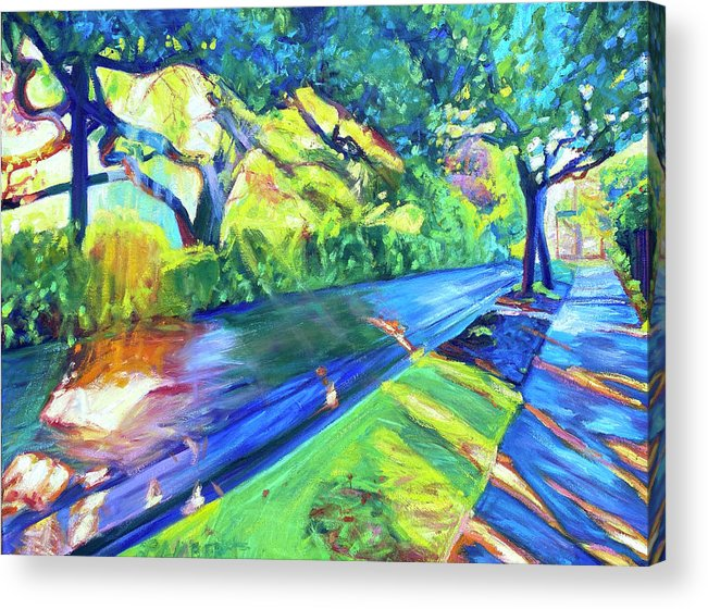 Neighborhood Acrylic Print featuring the painting Shade and Sunshine by Bonnie Lambert
