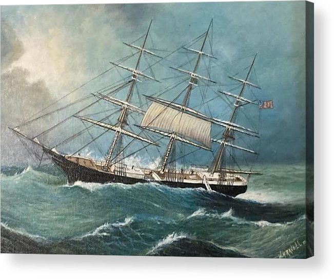 Tall Ship Acrylic Print featuring the painting Ship In Trouble by William Ravell