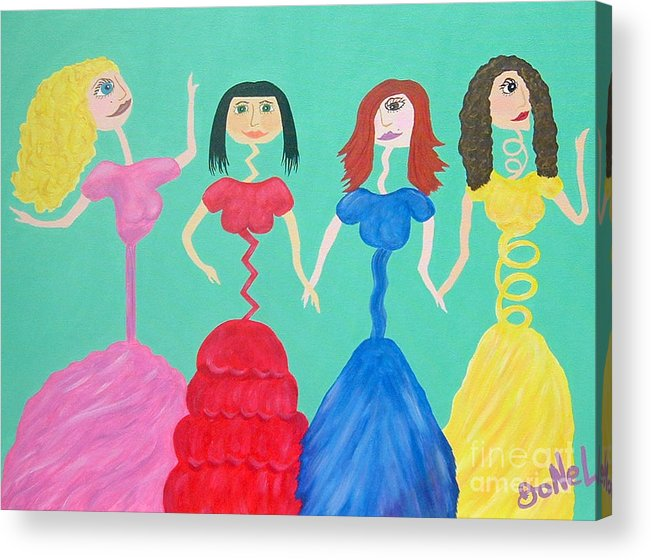 Model Acrylic Print featuring the painting Skinny Miss Minnies..Anorexic Models by JoNeL Art
