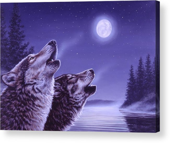 Wolf Acrylic Print featuring the painting Song of the North by Richard De Wolfe