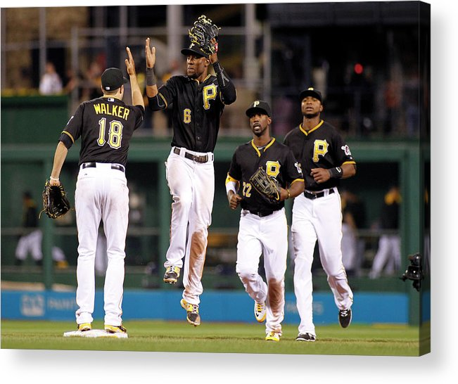 American League Baseball Acrylic Print featuring the photograph Starling Marte by Justin K. Aller