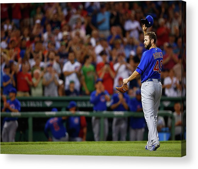 American League Baseball Acrylic Print featuring the photograph Stephen Drew and Jake Arrieta by Jared Wickerham
